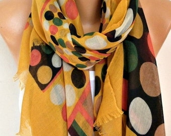 Mustard Polka Dot Cotton Scarf Shawl Fall Summer Scarf Cowl Oversized Wrap Gift Ideas For Her Women Fashion Accessories Christmas  Gift