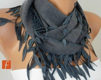 Gray Leaf Pahmina Scarf, Winter Scarf, Cowl Scarf, Gift Ideas For Her, Women Fashion Accessories,Christmas Gift,Best selling item