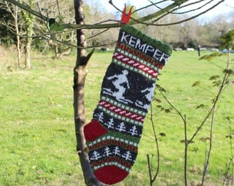 Personalized Christmas Stocking with skier Knit Fair Isle Handknit Modern Holiday Santa Sock - Custom made to order