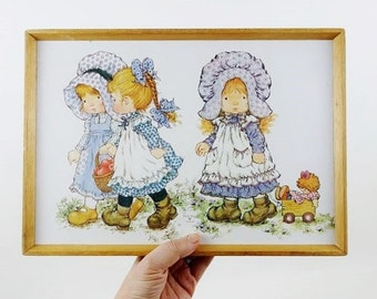 Vintage Sarah Kay Holly Hobbie Tray or Frame