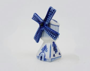 Vintage Windmill Tiny Porcelain Salt Shaker Delft Blue