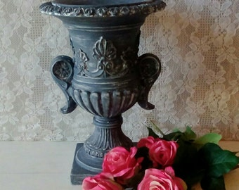 Urn, Gray, Painted, Resin Vase, Urban Farmhouse, Paris Chic, French Country, Savannah's Cottage