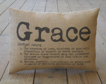 Grace Burlap Pillow, Farmhouse Pillows |  INSERT INCLUDED