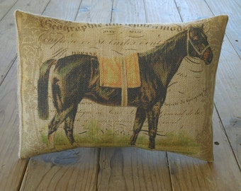 French Horse Burlap Pillow, lumbar, Shabby Chic, Horses, INSERT INCLUDED