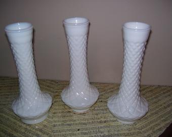 Three Milk Glass Bud Vases, Diamond Pattern