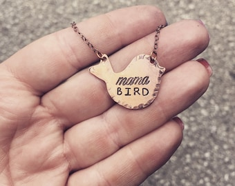 Hand Stamped mama Bird Necklace in copper