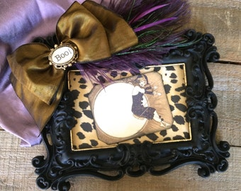 Halloween Photo Frame Jewel Feathers QUICK SHIP Black Purple Gold Theater Arts Bling Vintage