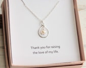 Mother-in-law's Sterling Silver Pearl Necklace with Sentiment Card
