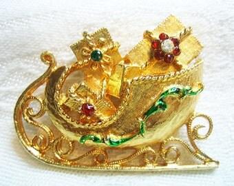 Vintage Mylu Rhinestone Christmas Sled Brooch