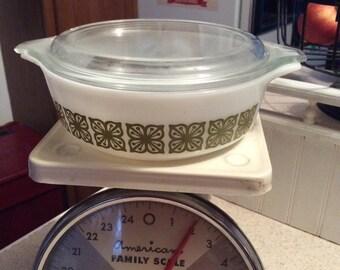 Vintage Pyrex green Verde casserole dosh with lid 1970s