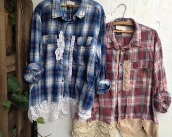 can do for you CUSTOM example flannel plaid crochet vintage lace boho rustic prairie barn country shabby winter fashion shirts
