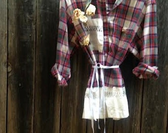 farm girl prairie vintage lace plaid flannel crochet fairy gypsy boho rustic prairie barn country shabby rustic fashion shirt