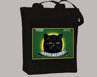 Gato Negro Black Cat Vintage Crate Label, Black or Neutral Canvas Tote  -- selection of tote sizes available