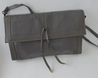 vintage Smokey Gray Leather envelope Clutch Bag Crossbody handbag Purse  Made in Italy