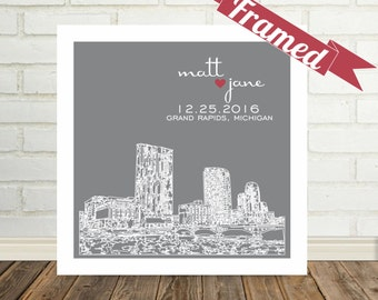 Grand Rapids Skyline Michigan Wedding Gift Michigan Art Personalized FRAMED ART Wedding Gifts Personalized Any City Available Valentines Day