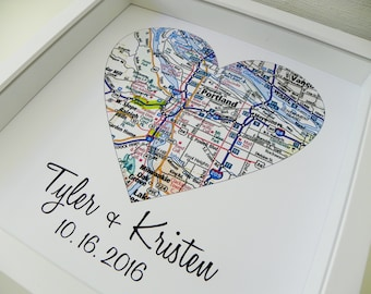 Personalized Anniversary Gift City Map Heart Print FRAMED Art Any Location Mr and Mrs Wedding Gift Mr and Mrs Art Valentines Day Gift