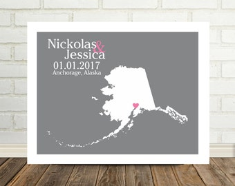 Personalized Alaska Map Print Wedding Gift Alaska Poster Alaska State Map Print State Map Art Holiday Gift for Couple Valentines Day Gift