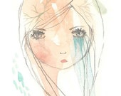 Tears original small painting art gouache watercolor 4 x 6 crying
