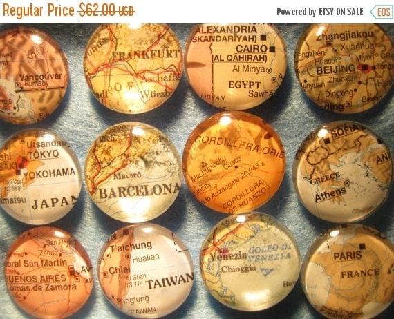 "ON SALE Glass Fridge Magnets World Maps (set of 12) 1"" Destination Wedding, Corporate gifts, Bridal Shower favors"