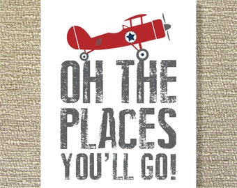 Vintage Airplane, Printable Wall Art, Places, Flight, Boy's Room Decor, Airplane Decor- File Download