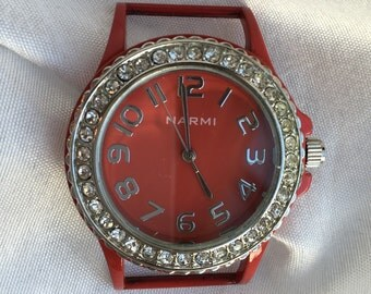 Red Interchangeable Watch Face with Rhinestones and Ribbon Bars