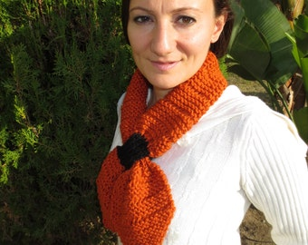 New Style Handknit Scarf with a Loop Through