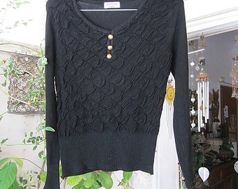 Black Touch-and-Feel knit Sweater Adorned with Golden Tone Cuffs and Front, Vintage - Medium