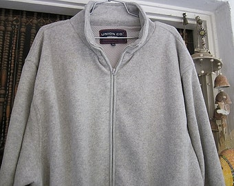Men's Fully Zippered Massive Sports Jacket / Sweater in Light Gray, Vintage - XLarge