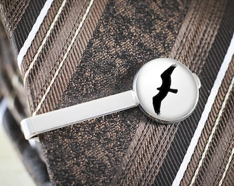 Osprey Silhouette Tie Clip - Silver Bird Tie Bar, Bird Silhouette Jewelry, Soaring Bird Tie Clip, Osprey Jewelry, Bird Lover Gift for Men