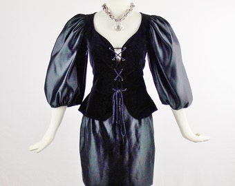 Vintage YVES SAINT LAURENT Black Iconic Russian Style Ballon Sleeves Corset Lace Tie and Matching Skirt Size 38/6