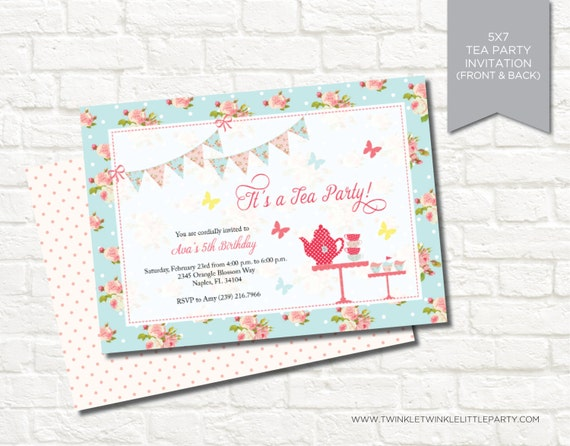Shabby Chic Tea Party Digital Birthday Party Invitation