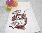 Flour Sack Tea Towel-Absorbent Cotton Dish Cloth, Beach Drink Tea Towel-Eco Friendly Kitchen Towel-Vintage Kitchen Decor-Housewarming Gift