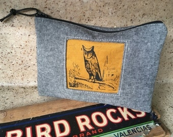 Night Owl Tool Clutch, Linen Handprinted Tool Bag, IN STOCK