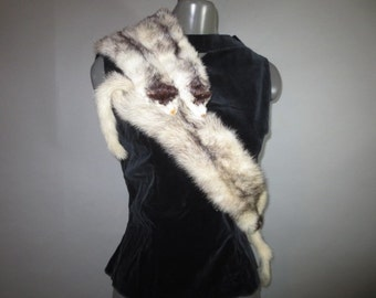 Four Cross Mink Fur Pelt Collar // Tails Feet Heads // Spring Clips Attached to Join Together