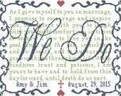 Modern Wedding Cross Stitch Pattern We Do with Vows Personalized  Cross Stitch Wedding Pattern