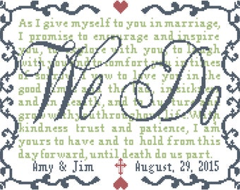 Modern Wedding Cross Stitch Pattern We Do with Vows Personalized  Cross Stitch Wedding Pattern