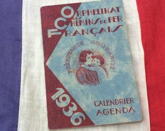 Small Used 1936 Chemin de Fer/ Railway French Pocket Diary