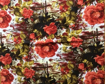 Vintage Original 1950's/60's Geometrical/ Abstract /Floral Design in Red Green and Brown Fabric