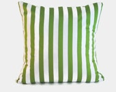 Green Striped decorative pillows covers. One for 20x20 pillow inserts.  Nautical beach preppy classic modern playroom colorful nursery