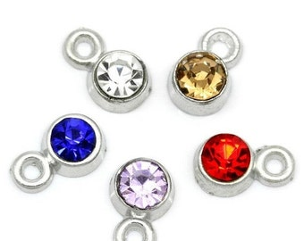 50 Rhinestone Channel Set Charm Pendant Drops . collection mixed colors as shown . silver metal 8mm x 5mm . CHS0398