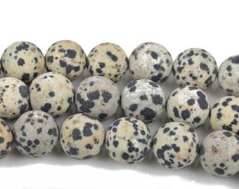 12mm DALMATIAN JASPER Round Beads, Smooth Matte Frosted Round Gemstone Beads, full strand, 32 beads per strand, gja0132