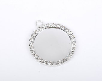 2 Rhinestone Bezel Charms, silver plated pendant charm tray, fits 24mm round cabochons, chs2343