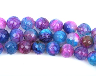 8mm Round Faceted PURPLE, PINK, BLUE Beads, full strand, about 48 beads, Natural Gemstones, gag0262