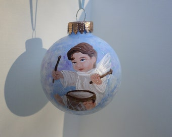 Hand Painted Glass Ornament with Angel no201
