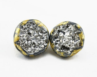 Silver druzy gold dipped stud earrings bling studs hip hop studs silver titanium drusy earrings