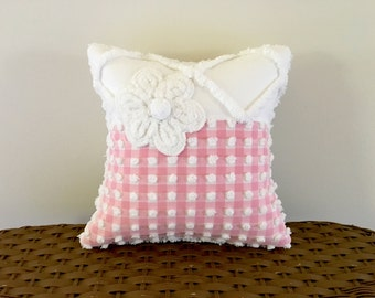 Decorative pillow cover 12 X 12 PRETTY IN PINK chenille cushion cover white rose cottage chic shabby style