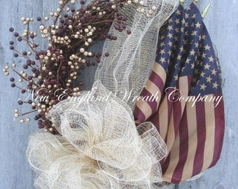 SUPER SALE Americana Wreath, Patriotic Wreath, Fourth of July, Memorial Day Wreath, Veteran's Day, Military, Flag Wreath, Tea Stained Flag W
