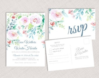 Watercolor Floral Invitation and RSVP