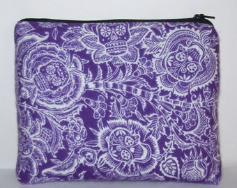 """Pipe Pouch, Purple Sugar Skull, Day of the Dead Bag, XL Pipe Bag, Padded Pipe Case, Glass Pipe Cozy, 420, Smoke, Stoner, 7.5"""" x 6"""" - X LARGE"""