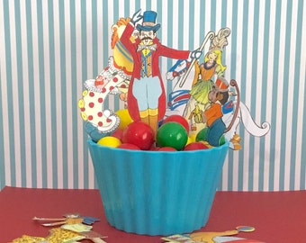 1950's Style Circus Party Cupcake Toppers